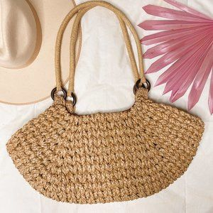 Claire V Tan Straw Shoulder Bag